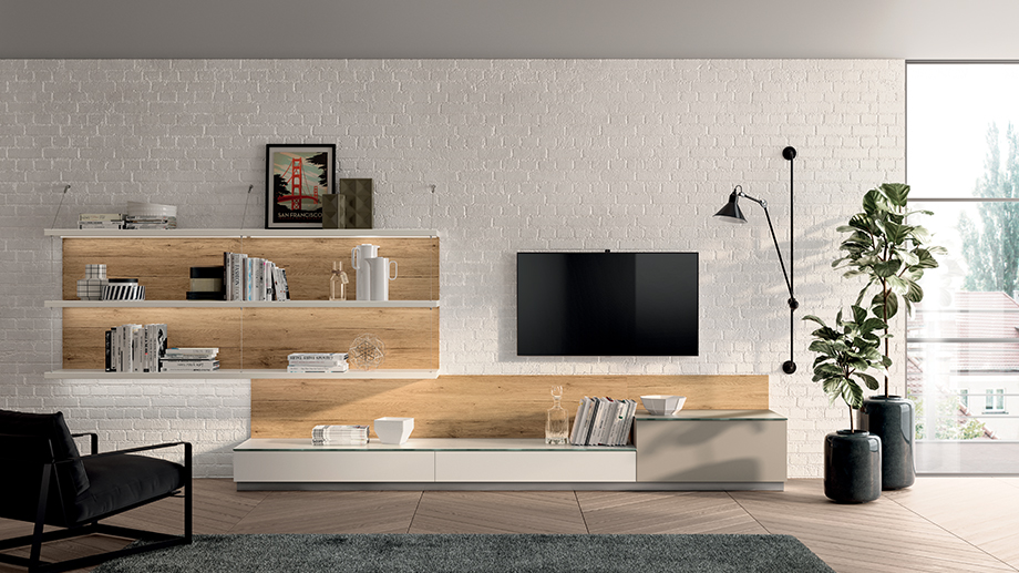 Living room: various types of equipped walls